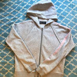 Grey and pink Under armor hoodie